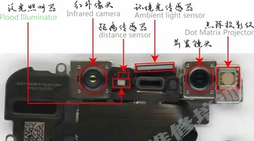 iPhone X 面容 Face ID 元器件